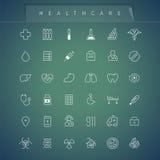 Opiek zdrowotnych Cienkie ikony Ustawiać ilustracja wektor
