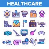 Opiek zdrowotnych Liniowe Wektorowe ikony Ustawia? Cieniej? piktogram ilustracja wektor