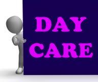Opieka Dzienna znak Pokazuje ośrodek opieki dziennej Zdjęcia Royalty Free