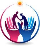 Opieka starszego obywatela logo ilustracja wektor