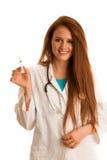 Opieka zdrowotna i medycyna - młodej kobiety lekarka odizolowywająca nad whit Zdjęcie Stock