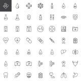 Opieka zdrowotna i medyczne kreskowe ikony ustawiający royalty ilustracja