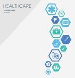 Opieka zdrowotna mechanizmu pojęcie Abstrakcjonistyczny tło z związanymi przekładniami i ikonami dla medycznego, zdrowie, strateg Obraz Royalty Free