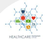 Opieka zdrowotna mechanizmu pojęcie Abstrakcjonistyczny tło z związanymi przekładniami i ikonami dla medycznego, zdrowie, strateg Zdjęcie Stock