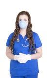 Opieka Zdrowotna pracownik w pętaczkach, masce i rękawiczkach, obrazy royalty free