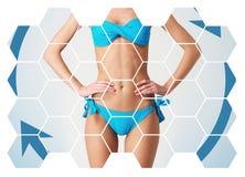 Opieki zdrowotnej, dieting, sporta i piękna pojęcie, piękne ciało kobiety Kobieta w Swimsuit obrazy royalty free