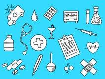 Opieki zdrowotnej doodle czarny i biały z błękitnym tłem royalty ilustracja