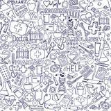 Opieki zdrowotnej i medycyny wzór Wektorowe doodle ilustracje ilustracji