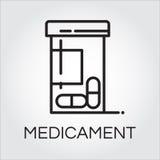 Opieki zdrowotnej medicament czerni ikony rysunek w konturu stylu royalty ilustracja