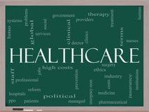 Opieki zdrowotnej słowa chmura na blackboard Zdjęcie Royalty Free