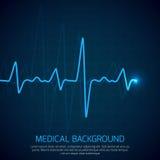 Opieki zdrowotnej wektorowy medyczny tło z kierowym kardiogramem Kardiologii pojęcie z pulsu tempa diagramem Zdjęcie Royalty Free