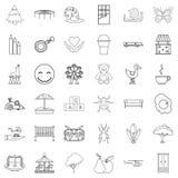 Opiekun ikony ustawiać, konturu styl royalty ilustracja