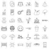 Opiekun ikony ustawiać, konturu styl ilustracji