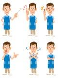 Opiekun jest ubranym fartucha lub przedszkole nauczyciel, royalty ilustracja
