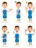 Opiekun jest ubranym fartucha lub przedszkole nauczyciel, ilustracja wektor