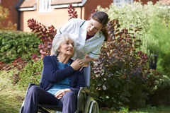 Opiekunu Dosunięcia Starsza Kobieta W Wózek inwalidzki Obraz Stock