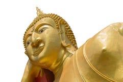 Opierający Buddha statuę w Tajlandzkiej świątyni odizolowywającej na białym backgr Zdjęcie Stock