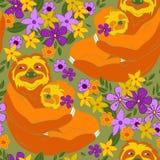 Opieszałość ściska wśród kwiatów bezszwowych zdjęcie stock
