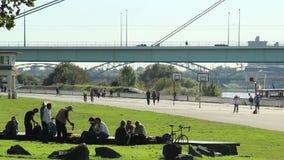Opili ludzie piją piwnego słonecznego dzień, zdrowa styl życia koszykówka zdjęcie wideo