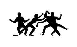 Opili ludzie, pijący przyjęcie, cztery mężczyzna pije wektorową sylwetki ikonę, znak, ilustracja na białym tle Obrazy Royalty Free