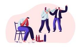 Opili mężczyźni, alkoholu nałogu ludzie Męscy charaktery Ma Szkodliwych przyzwyczajenie nałogi i uzależnienie, cierpienie, płacz ilustracja wektor