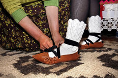 Opinci. Romanian traditional old shoes Royalty Free Stock Images