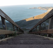 Opinião íngreme da escadaria do Oceano Pacífico Foto de Stock Royalty Free