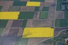 Opinião aérea cultivada dos campos fotos de stock royalty free