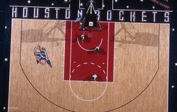 Opinião aérea da ação do jogo de basquetebol Imagens de Stock