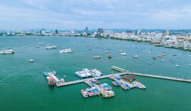 Opinião aérea da arquitetura da cidade de Pattaya Fotos de Stock