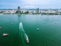 Opinião aérea da arquitetura da cidade de Pattaya do mar Fotos de Stock Royalty Free