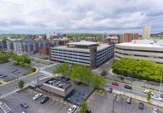 Opinião aérea da cidade de Malden, Massachusetts, EUA imagens de stock