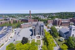 Opinião aérea da igreja de Lowell, Massachusetts, EUA imagem de stock