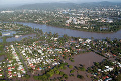 Opinião aérea da inundação 2011 de Brisbane Fotos de Stock Royalty Free