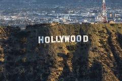 Opinião aérea da manhã do sinal de Hollywood foto de stock