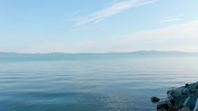 Opinião aérea da metragem do zangão do lago Balaton, Hungria filme