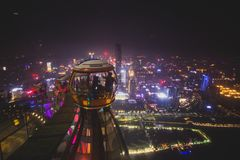 Opinião aérea da noite larga bonita do ângulo do distrito financeiro da cidade nova de Guangzhou Zhujiang, Guangdong, China com s Fotografia de Stock