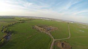 Opinião aérea da paisagem do campo do verão filme