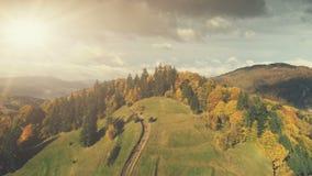 Opinião aérea da paisagem majestosa da montanha do outono foto de stock
