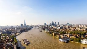 Opinião aérea da skyline da cidade de Londres com marcos famosos Imagem de Stock