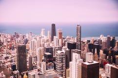 Opinião aérea da skyline moderna de Chicago Imagens de Stock Royalty Free