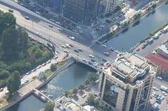 Opinião aérea de Bucareste fotografia de stock royalty free