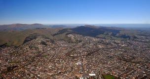 Opinião aérea de Christchurch de subúrbios do sul Foto de Stock