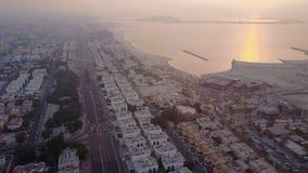 Opinião aérea de Emiratos Árabes Unidos Dubai, distrito, opinião aérea da estrada Fotografia de Stock Royalty Free