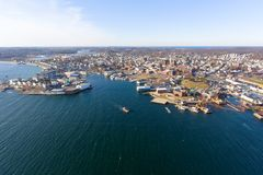Opinião aérea de Gloucester, cabo Ann, Massachusetts imagem de stock royalty free