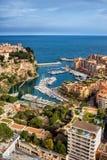 Opinião aérea de Mônaco sobre Porto De Fontvieille Foto de Stock