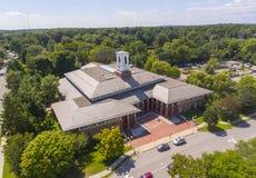 Opinião aérea de Newton Free Library, Massachusetts, EUA imagens de stock
