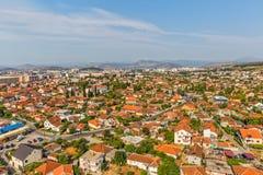 Opinião aérea de Podgorica fotografia de stock