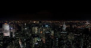 Opinião aérea de surpresa da noite panorâmico de NYC Distrito de Manhattan EUA imagem de stock