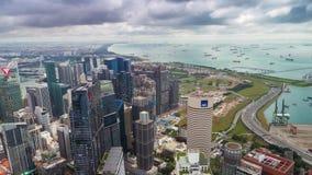 Opinião aérea de Timelapse da metragem do dia de Singapura do porto filme